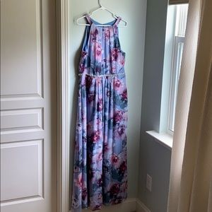 Grecian style floral gown